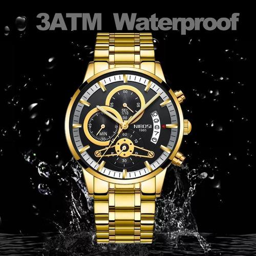 relógio nibosi luxo original funcional a prova d água