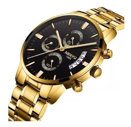 relógio nibosi masculino analogico funcional luxo promoção