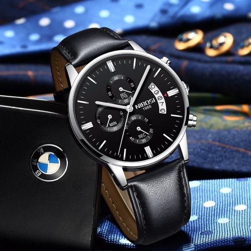 relógio nibosi masculino luxo couro à prova d'água original