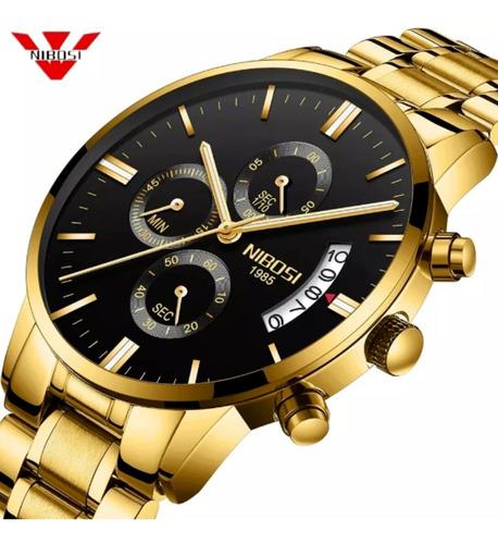 relógio nibosi masculino original anti risco blindado safira - ele é top compre agora e prove entrega imediata o melhor