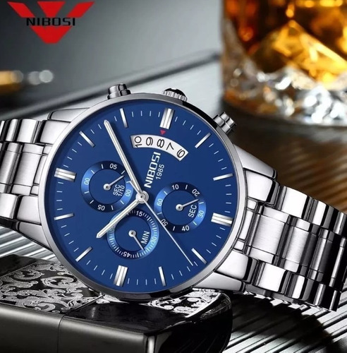 relógio nibosi masculino original inox prata fundo azul