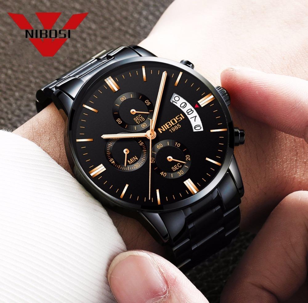 144614b6d40 Relógio Nibosi® Original Cronom cronógrafo Com Caixa + Chave - R ...