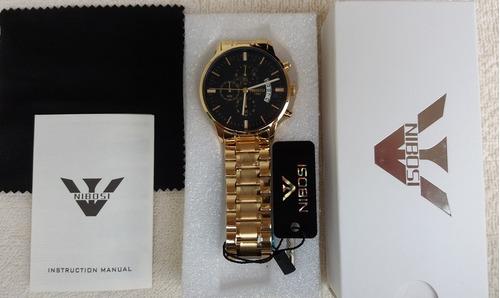 relógio nibosi original dourado a prova d'água ante risco
