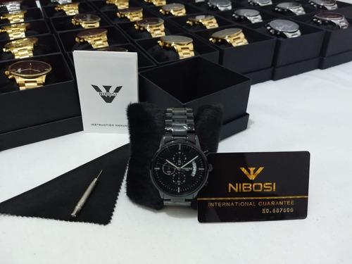 relógio nibosi original preto 1985 a prova d'água ante risco