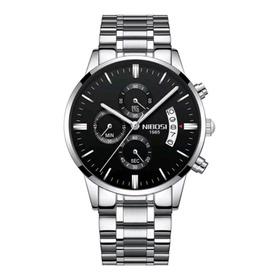 Relógio Nibosi Prata Aço Luxo Cronometro + Brinde
