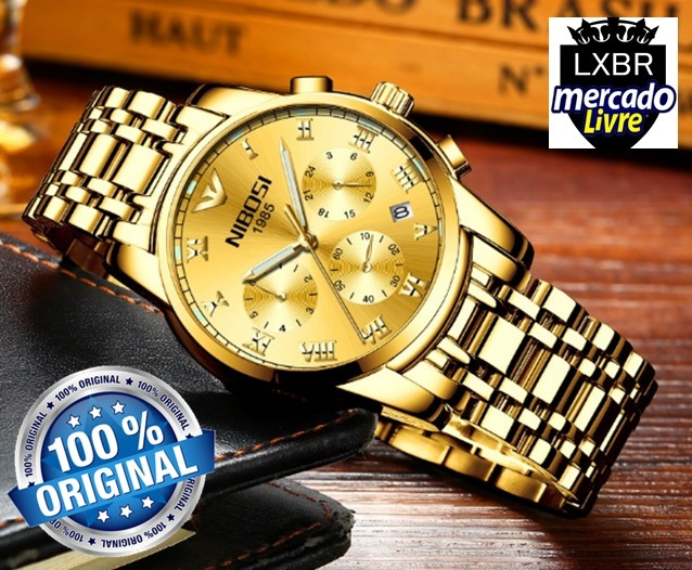 d84fda721df Relogio Nibosi Social Masculino Ouro Dourado Av R44c Lxbr - R  154 ...