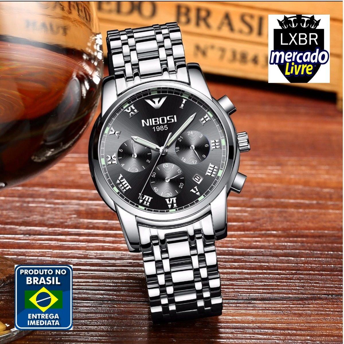 f34e0e19c6f Relogio Nibosi Social Prata Preto Aço Original R12 Lxbr - R  189