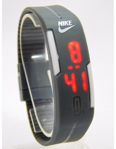 relógio nike pulseira preto led red watch man + frete grátis