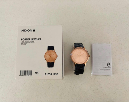 relógio nixon porter leather, 40mm - all rose gold/black