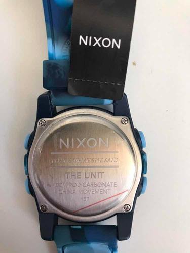 relogio nixon unit marbled blue ! exclusivo! rubber tide top