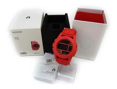 relogio nixon unit the baja all red a489 191! ninguem tem !