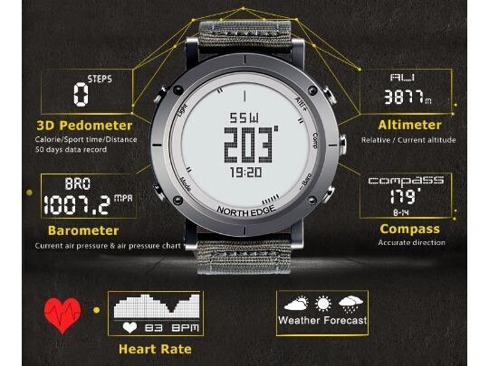 52144ef0179 Relógio North Edge Altímetro Barômetro Termômetro Cardíaco - R  690 ...