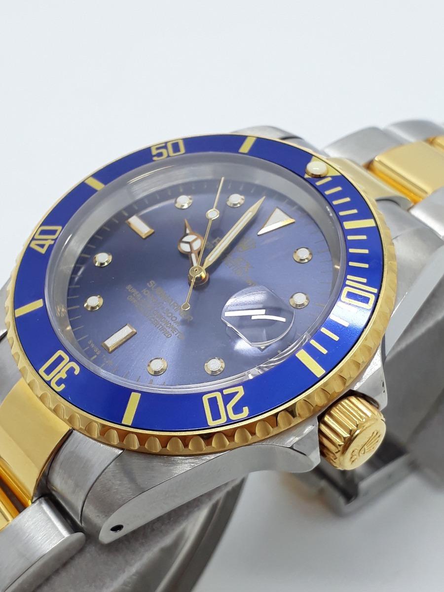 7006840affd relógio novo oyster submariner prata dourado azul automático. Carregando  zoom.