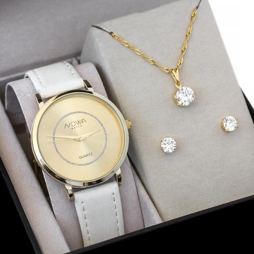relógio nowa dourado couro branco feminino nw1408k kit joias