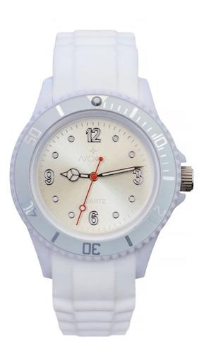 relógio nowa feminino borracha nw0520bk branco + kit brinde