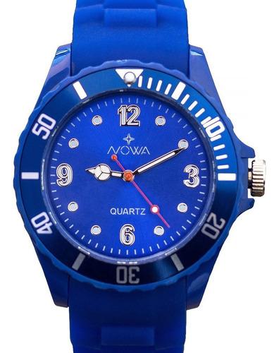 relógio nowa feminino borracha nw0522ak azul + kit brinde