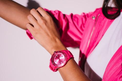 relógio nowa feminino borracha nw0523rk rosa + kit brinde