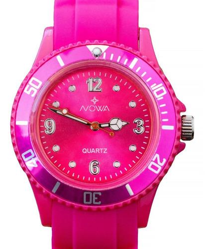 relógio nowa feminino borracha nw0523rk rosa original
