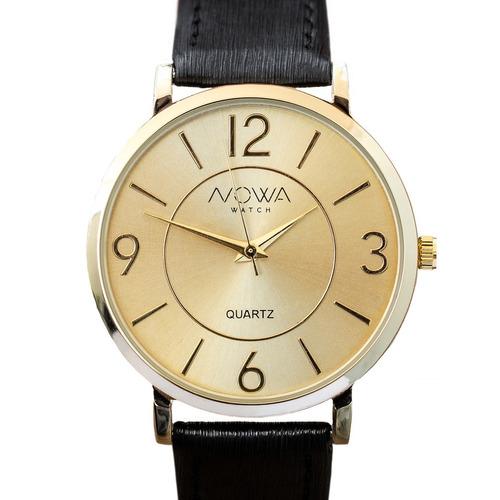 relógio nowa  feminino dourado couro nw1412k original
