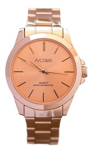 relógio nowa feminino rose rosa nw4027k + kit brinde
