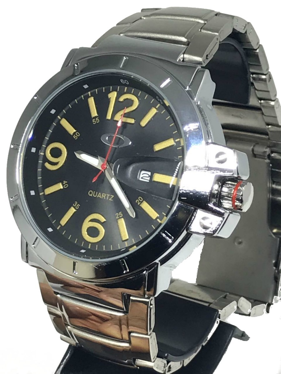 369ffef459c relógio oakley prata aço inox fundo preto - branco promoção. Carregando  zoom.