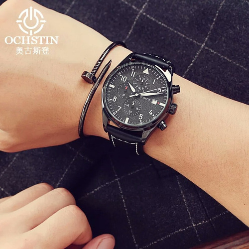 relógio ochstin preto couro impécavel com caixa promoção