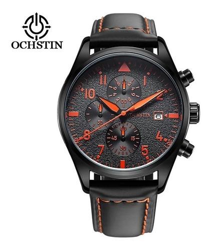 relógio ochstin pulseira couro luxo masculino prova d'água