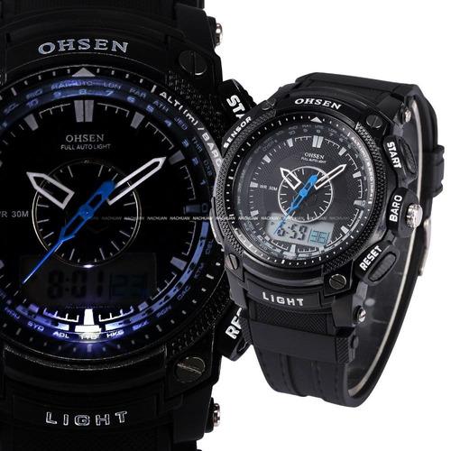 relógio ohsen preto à prova d'água  militar : frete gratis