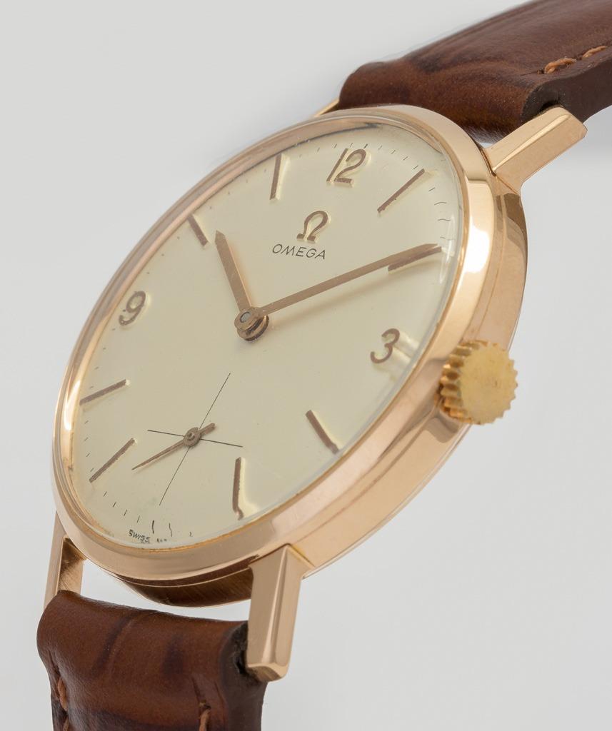 1e2856affbd relógio omega antigo ouro rose 18k anos 70 pulseira de couro. Carregando  zoom.