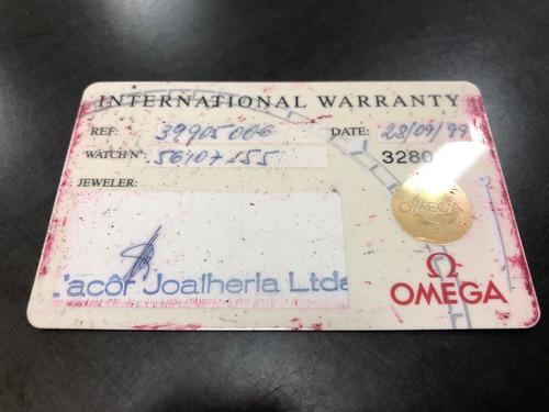 relógio omega - cartão garantia original preenchido de 1999