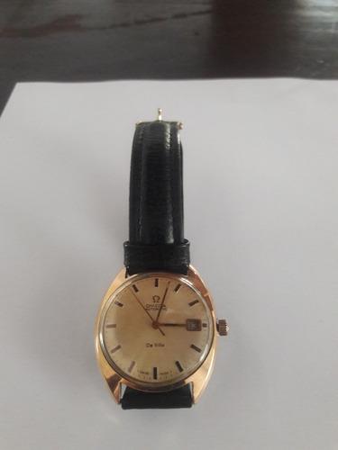 relógio omega de ville folheado a ouro automático com data