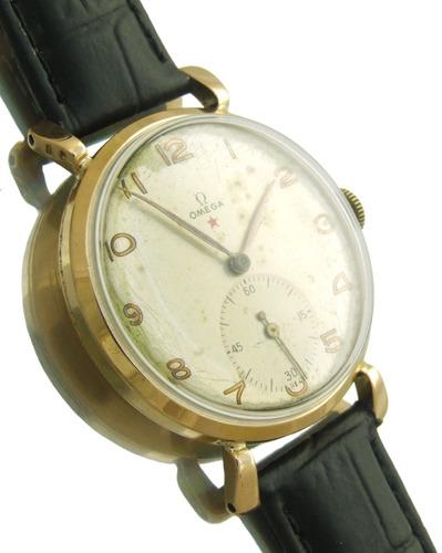 relógio omega estrela vermelha masculino em ouro rose j10858