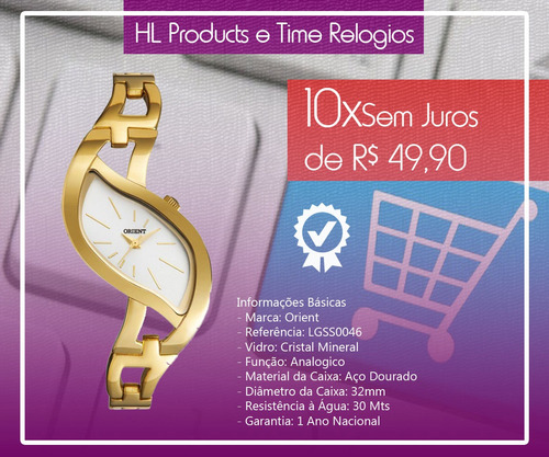 relógio orient 3atm 32mm lgss0046