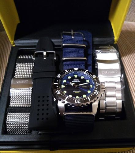 relógio orient 469ss073 netuno customizado novo 4 pulseiras