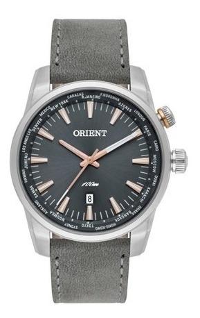 relógio orient  aço prata visor grafite puls couro mbsc1022