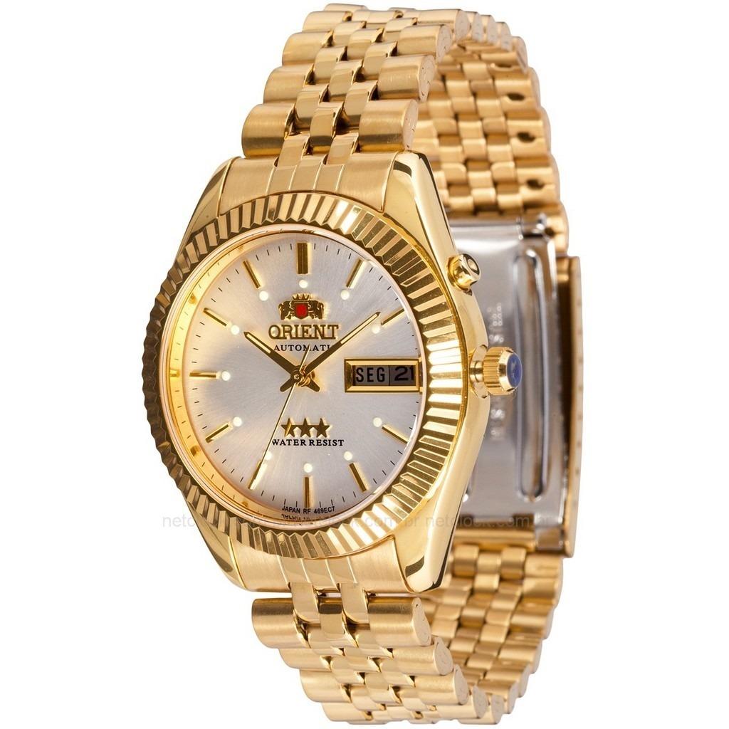 2eefc6905 relógio orient automático 469ec7 dourado ouro meca luxo. Carregando zoom.
