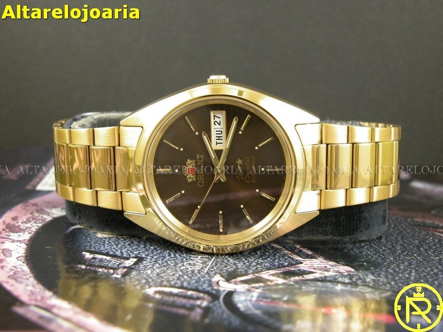 3beec702230 Relógio Orient Automático Calendário Plaque Ouro Fab00004t9 - R  399 ...