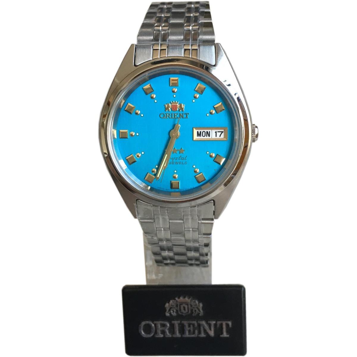 7bfeb4d202a relógio orient automatico classico aço masculino azul. Carregando zoom.