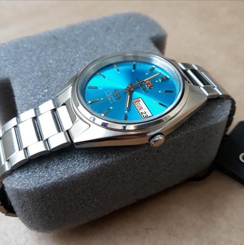 relógio orient automatico classico aço masculino  azul