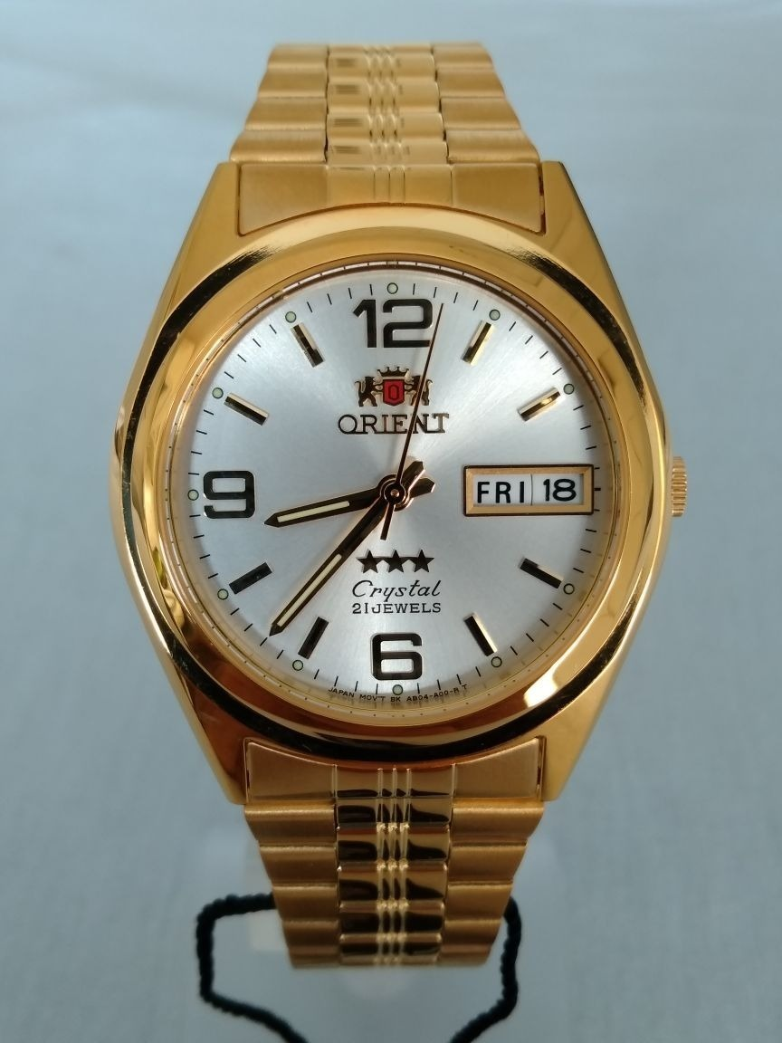 bbadfb7ced5 relógio orient automático clássico plaque ouro fab04001w9. Carregando zoom.
