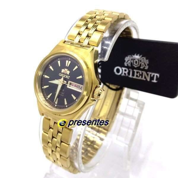 81fd7de37445e Relógio Orient Automatico Feminino Mini Dourado Fnq1s001b9 - R  434 ...