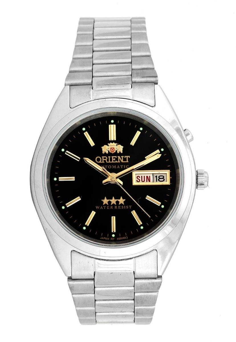 482b7d85beb relógio orient automático prata fundo preto 469wa3 p1sx. Carregando zoom.