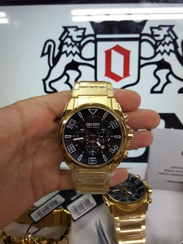 relógio orient cronógrafo dourado c/ data mgssc018 p2kx