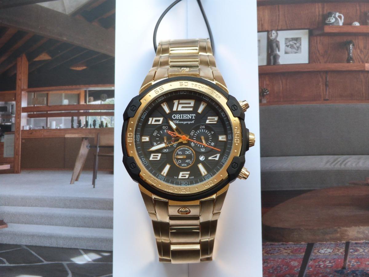 d10506f0443 relógio orient dourado mgssc020 p2kx esportivo grande. Carregando zoom.