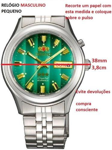 relogio orient fem0301 automático calend aço cristal 21rubis