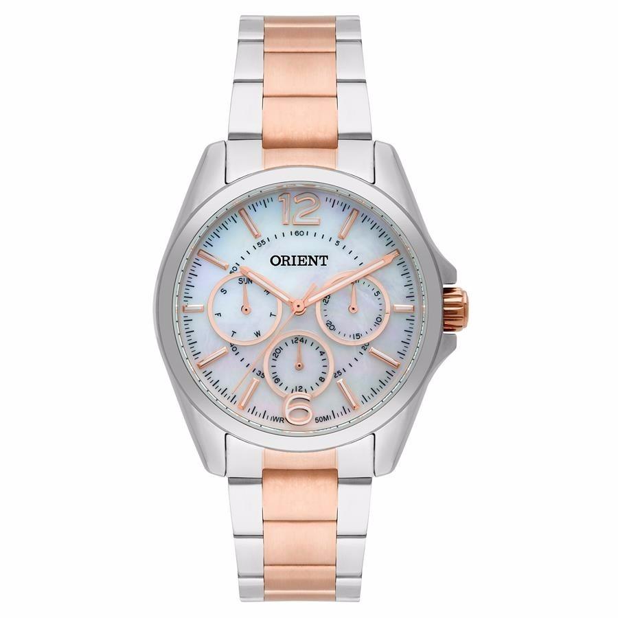 Relógio Orient Feminino Prata Com Rose Madrepérola Ftssm035 - R  459 ... dccae33f3b