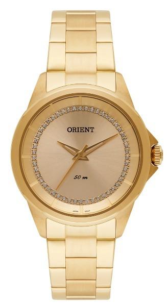 a7ee80abd8c Relógio Orient Feminino Dourado C  Pedras 34313 - R  380