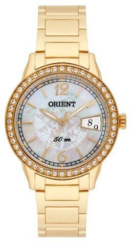 20d4a124eb4f3 Relógio Orient Feminino Dourado Cristais Swarovski Fgss1139 - R ...