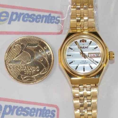 4c42c98a95c80 Relógio Orient Feminino Dourado Mini Automatico Fnq09008w9 - R  481 ...