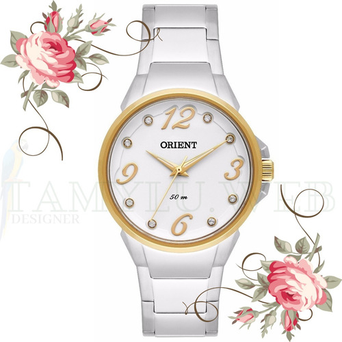 relógio orient feminino prateado dourado original ftss0045
